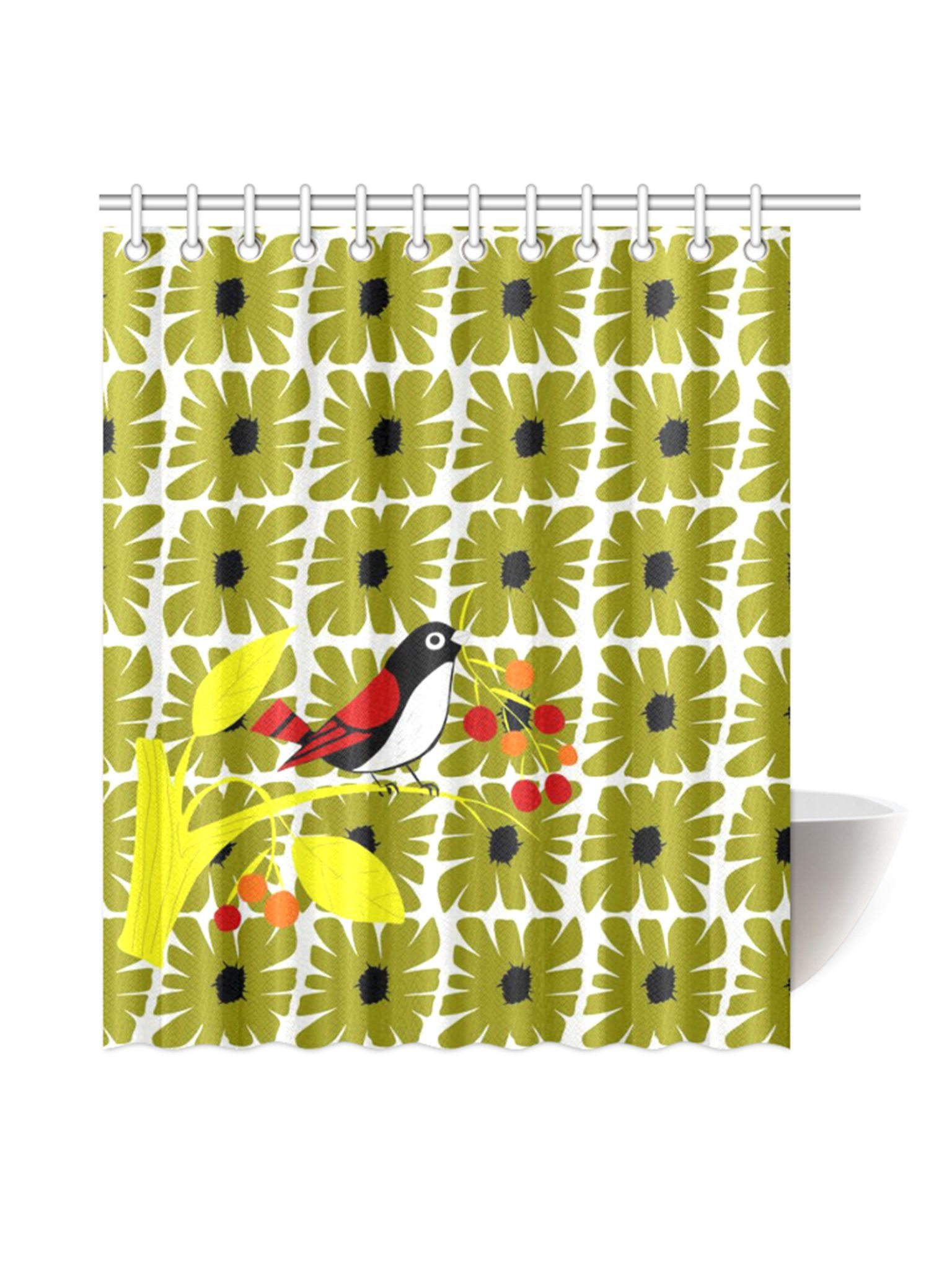 dp chirp fine home shower bird amazon curtains simply lenox multi curtain com color kitchen