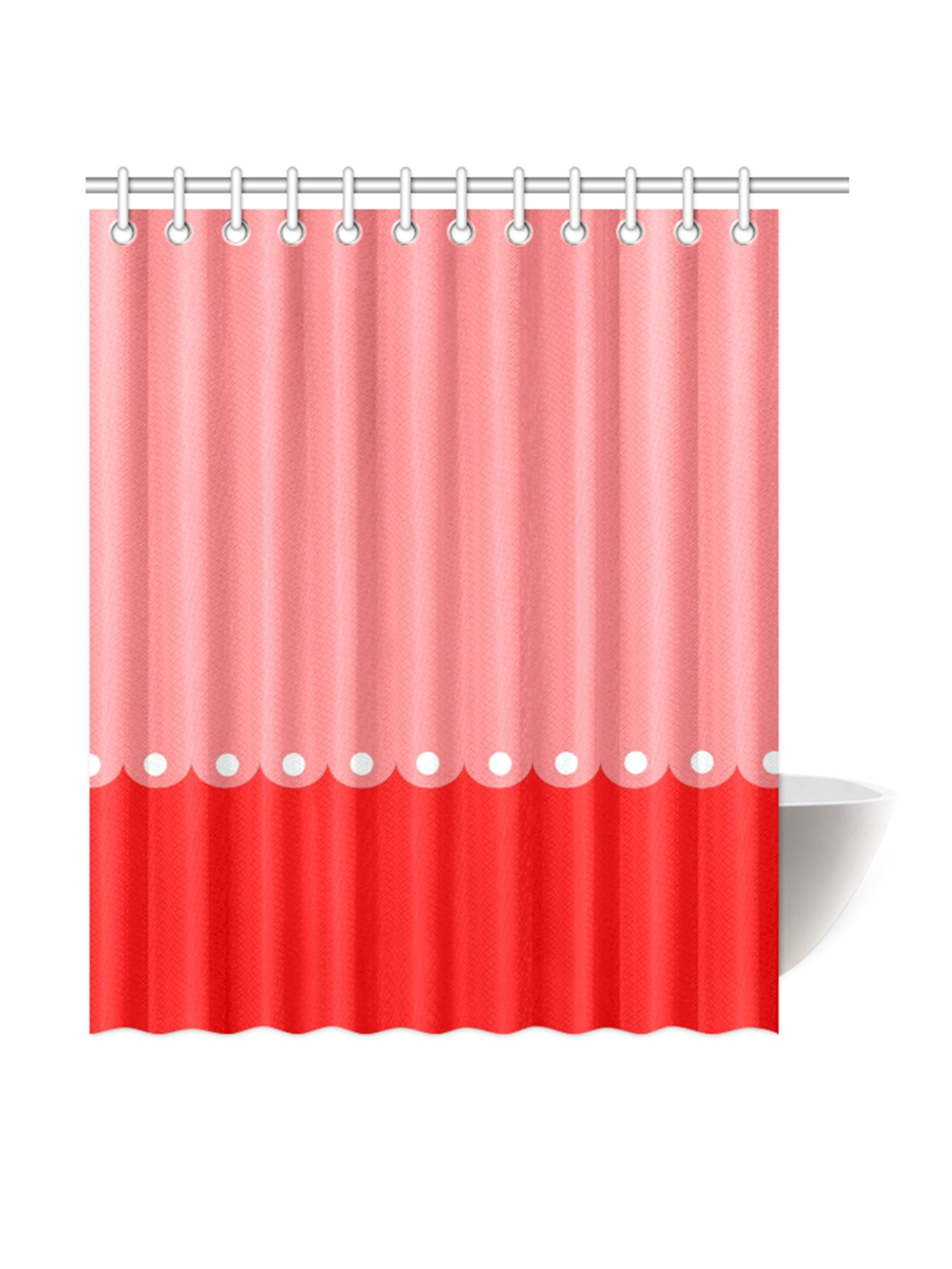 SHOWER CURTAINS Red Pink Dots