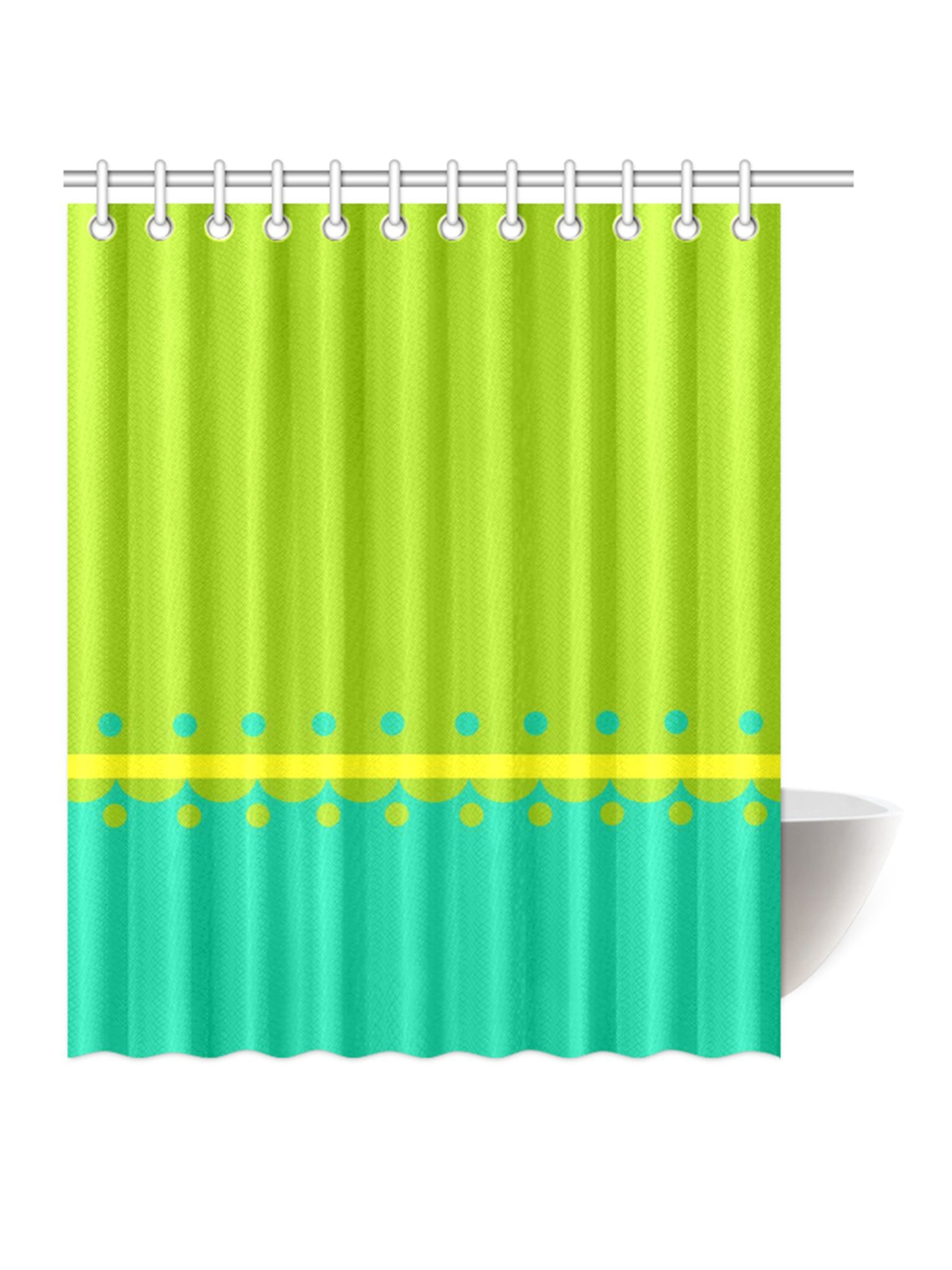 yellow and teal shower curtain. SHOWER CURTAINS yellow dots mod shower curtain  original design Kayci Garline