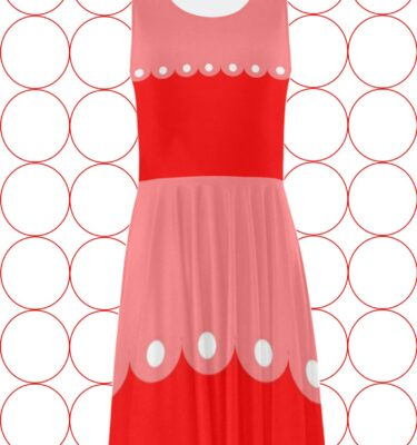 mod red polka dot fit and flare
