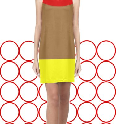 red brn yellow dress