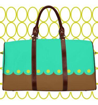 travel bag brn blue dots1