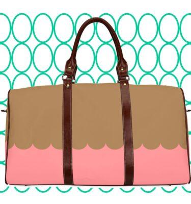 travel bag pink and brown1