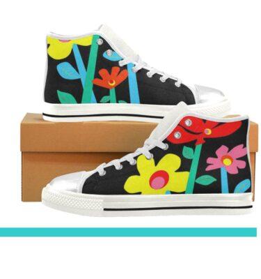 kids shoes blk floral