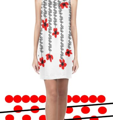 shift dress red floral and blk leaves