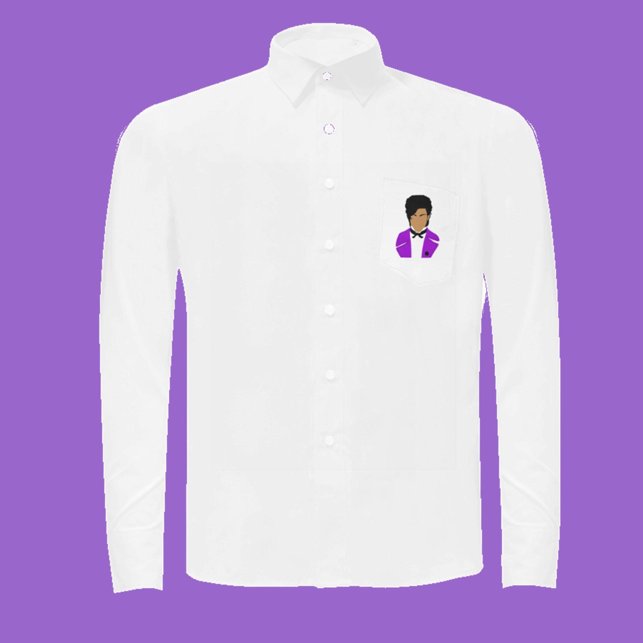Purple pop star button down shirt kayci garline wheatley for Mens shirt with stars